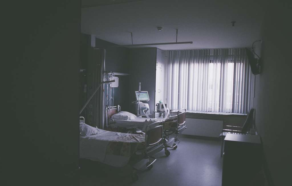 hospital room with two beds